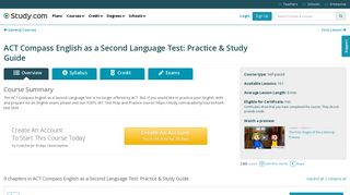 ACT Compass English as a Second Language Test: Practice ...