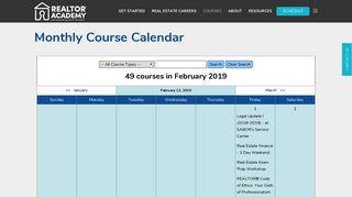 REALTOR® Academy   Monthly Course Calendar