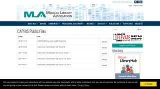 MLA : CAPHIS: Consumer Connections - Medical Library Association