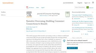 Narrative Processing: Building Consumer Connections to Brands ...