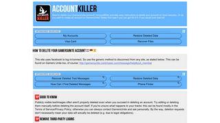 Delete your GamersUnite account | accountkiller.com