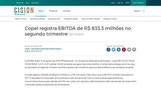 Copel registra EBITDA de R$ 833,3 milhões no segundo trimestre