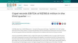 Copel records EBITDA of R$785.6 million in the third quarter