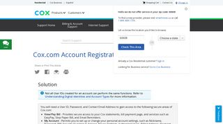 Cox.com Account Registration and Preferences