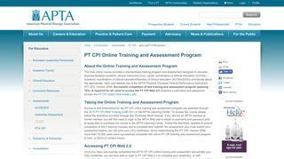 PT CPI Online Training and Assessment Program - APTA