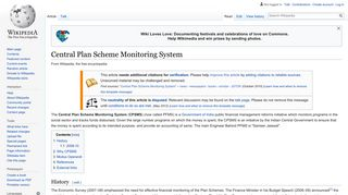 Central Plan Scheme Monitoring System - Wikipedia
