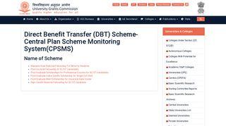 Direct Benefit Transfer (DBT) Scheme-Central Plan Scheme ... - UGC