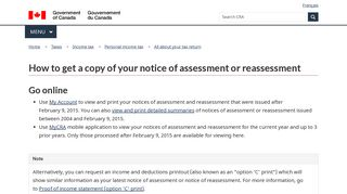 How to get a copy of your notice of assessment or reassessment ...