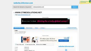 ctimesolutions.net at Website Informer. Login. Visit Ctimesolutions.