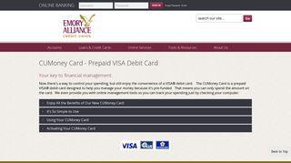 CUMoney Card - Prepaid VISA Debit Card - Emory Alliance Credit Union