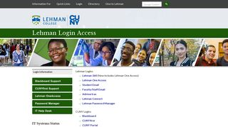 Lehman College Student, Faculty, and Staff Login Information ...