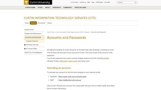Accounts and Passwords - Curtin Information Technology Services ...
