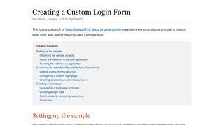 Creating a Custom Login Form - Spring