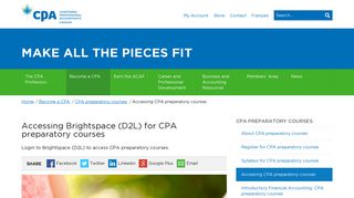 Accessing Brightspace (D2L) for CPA preparatory courses