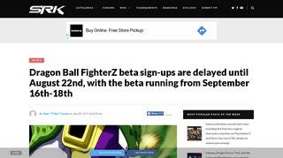 Dragon Ball FighterZ beta sign-ups are delayed until August 22nd ...