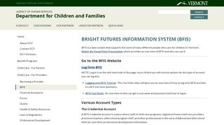 Bright Futures Information System (BFIS)   Department for Children ...