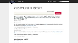 DCI Number - Wizards - Service