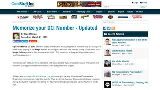 Memorize your DCI Number - Updated | Article by Alex Ullman