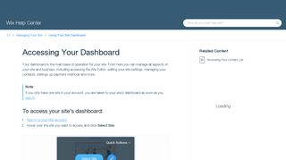Accessing Your Dashboard | Help Center | Wix.com