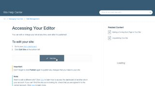 Accessing Your Editor | Help Center | Wix.com