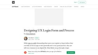 Designing UX Login Form and Process – UX Planet