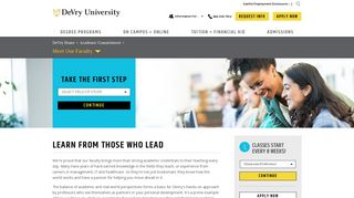 Our Committed On Campus and Online University Faculty   DeVry