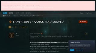 Error 3006 - quick fix / solved - Diablo III Forums - Blizzard ...