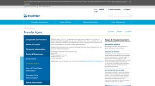 Transfer Agent | Broadridge