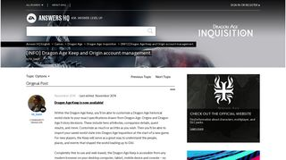 [INFO] Dragon Age Keep and Origin account management. - Answer HQ