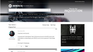 Solved: Can't sign into Origins account for Dragon Age Keep in DA:I ...