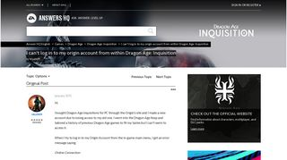 I can't log in to my origin account from within Dragon Age: Inquisition ...