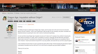 Dragon Age: Inquisition without Origin? - PC Gaming - Linus Tech Tips