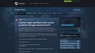 Cannot Login and Black title screen problem! [Dragon Nest] [Fixed ...