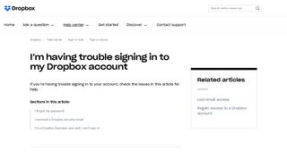 I'm having trouble signing in to my Dropbox account – Dropbox Help