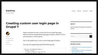 Creating custom user login page in Drupal 7 - DanPros