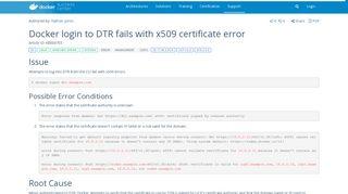 Docker - Docker login to DTR fails with x509 certificate error