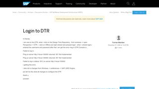 Login to DTR - archive SAP
