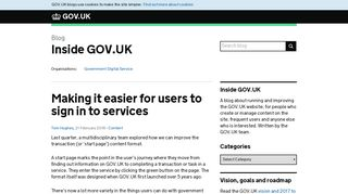 Making it easier for users to sign in to services - Inside GOV.UK