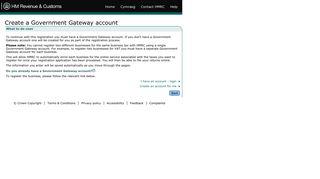 HMRC: Create a Government Gateway account