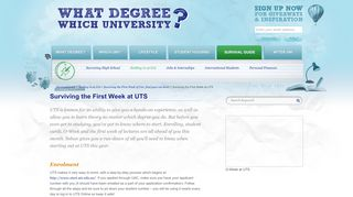 What Degree? Which University? - Surviving the First Week at UTS