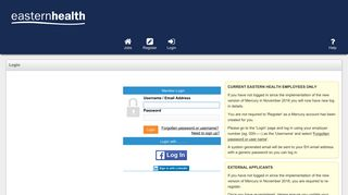 Login - Eastern Health - Equifax eRecruit