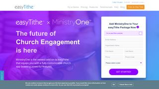 Sign up for the MinistryOne Church App with easyTithe