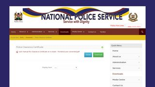Downloads - Police Clearance Certificate - National Police Service