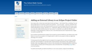 Adding an External Library to an Eclipse Project Folder | The Oxford ...