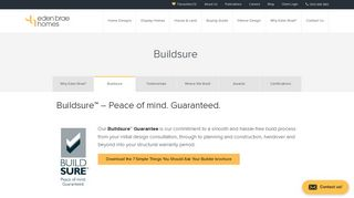 Buildsure Guarantee   Eden Brae Homes