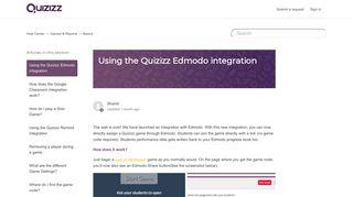 Using the Quizizz Edmodo integration – Help Center