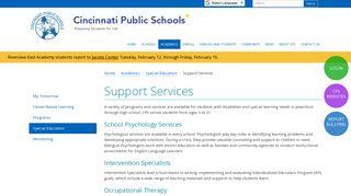 Support Services   Cincinnati Public Schools