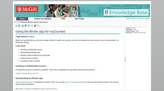 Using the Binder app for myCourses