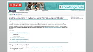 Grading assignments in myCourses using the iPad Assignment Grader