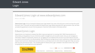 Edward Jones Login @ edwardjones.com - Edward Jones Login